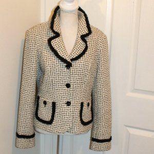 Sara Campbell white black cream tweed blazer